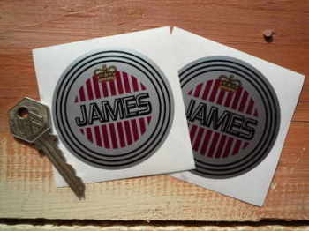 "James Motorcycle Circular Stickers. 2"" or 3"" Pair."