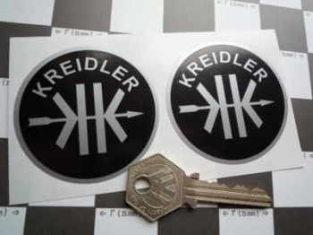 "Kreidler Black & Silver Circular Stickers. 2.25"" Pair."
