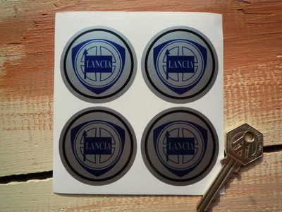Lancia Wheel Centre Stickers. Set of 4. 50mm.