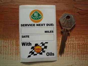 "Lotus & Shell Oils Service Sticker. 3""."