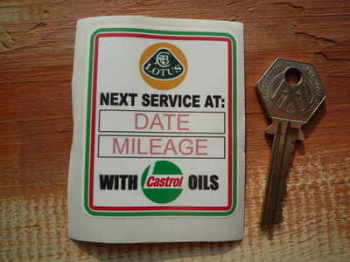 "Lotus & Castrol Oils Service Sticker. 2.75""."