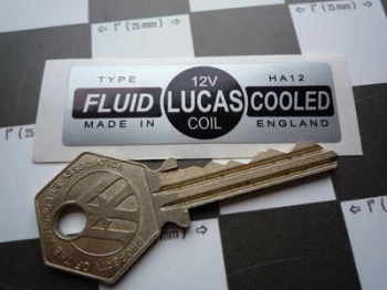 Lucas Coil Sticker. Fluid Cooled Silver. Small. HA12 12V. 17.