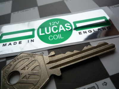 Lucas Ignition Coil Sticker. Green & Foil. 12V. G.