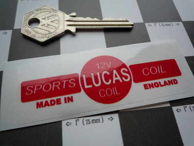 Lucas Sports Coil Sticker. Red & Clear. 12V. N.