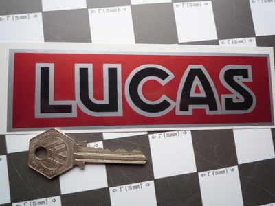 Lucas Car Battery Sticker. Red, Black & Silver, No.1.
