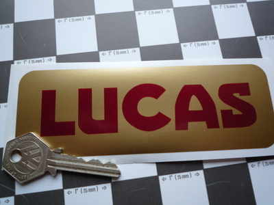 Lucas Car Battery Sticker. Red & Gold. No.11.