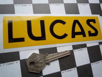 Lucas Car Battery Sticker. Black & Yellow, No.12.