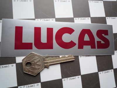 Lucas Car Battery Sticker. Red & Silver, No.13.