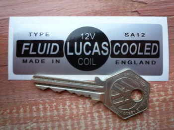 Lucas Fluid Cooled Coil Sticker. Silver. SA12 12V. 3.