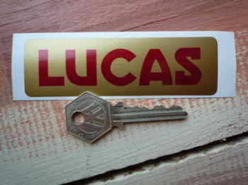 Lucas Motorcycle Battery Sticker. Red & Gold. No.6.