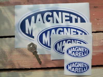 Magneti Marelli Blue & White Oval Stickers. 2.75