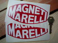 Magneti Marelli White & Red Blunted Oval Stickers. 6