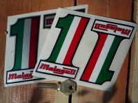 "Malaguti Tri-Color no.1 Stickers. 4"" Pair."