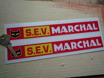 "SEV Marchal Red Racing Oblong Stickers. 9.5"" Pair."