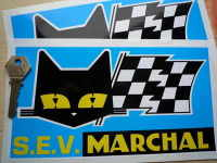 """SEV Marchal Cat/Flag Blue Background Stickers. 8.5"""" Pair."""