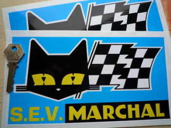 "SEV Marchal Cat/Flag Blue Background Stickers. 8.5"" Pair."