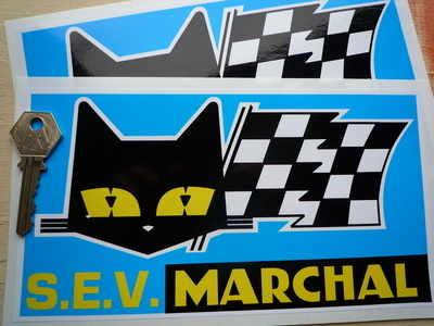 SEV Marchal Cat/Flag Blue Background Stickers. 8.5