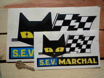 "SEV Marchal Cat & Script Stickers. 4"", 6"", 8"", 10"", 11.25"", or 12"" Pair."