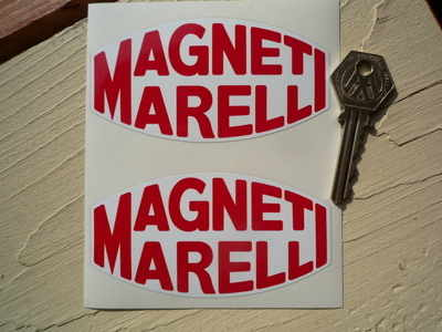 Magneti Marelli Red & White Blunted Oval Stickers. 4