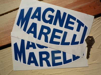 Magneti Marelli White & Blue Blunted Oval Stickers. 4.5