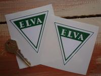 """Elva. Triangular. Green & White Stickers. 3"""" Pair."""