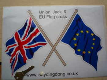 "Union Jack & EU Crossed Flags Sticker. 16""."