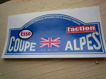 "Coupe Des Alpes. Esso. L'action. Union Jack. Rally Plate Sticker. 6""."