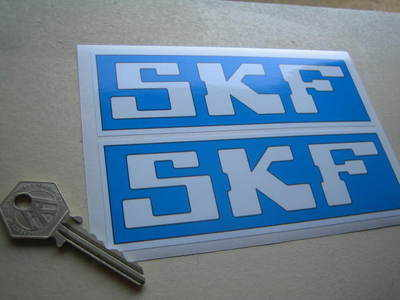 """SKF Pale Blue & White Oblong Stickers. 6"""" Pair."""