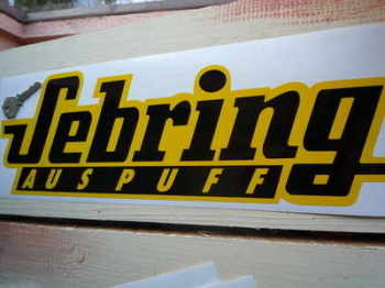 "Sebring Auspuff Yellow & Black Sticker 15.5""."