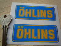 Ohlins Blue & Yellow Oblong Stickers. 3.5