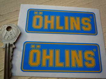 "Ohlins Blue & Yellow Oblong Stickers. 3.5"" Pair"
