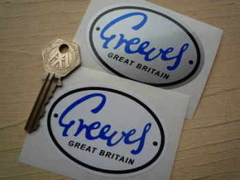 "Greeves Great Britain Oval Stickers. 3"" Pair."