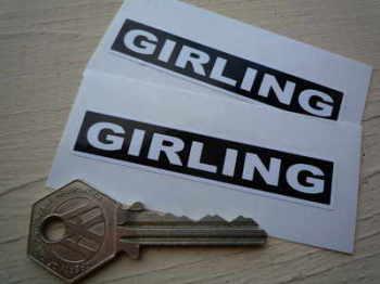 """Girling Black & White Oblong Stickers. 3"""" Pair."""