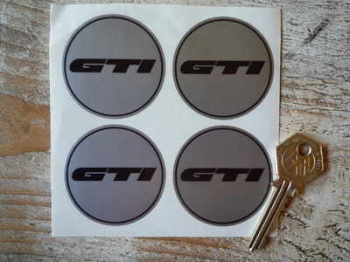 GTI Black & Silver Wheel Centre Stickers. Set of 4. 50mm.