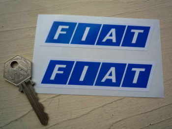 "Fiat Block Logo. White on Blue. Slanted Oblong Stickers. 4"", 6"", or 12"" Pair."