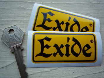 Exide Yellow & Black Oblong Battery Stickers Pair. Various Sizes.