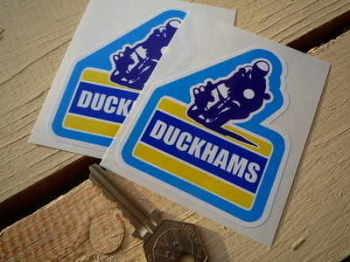 "Duckhams Motorbike Rider Stickers. 2.75"" Pair."