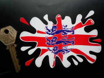 "England Flag. Three Lions Splat Sticker. 4"" or 6""."
