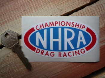 "NHRA Championship Drag Racing Red Text Sticker. 4""."