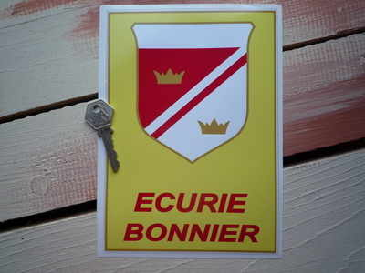 Ecurie Bonnier Red Text Oblong Shield Sticker. 8