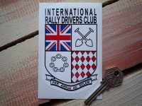 "International Rally Drivers Club IRDC Shield Sticker. 3""."