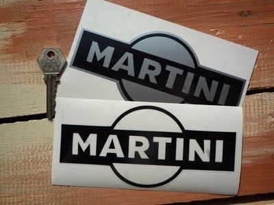 Martini Logo Stickers. Black & Clear or Black & Silver. 6