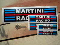"Martini Racing Streaked Black Background Stickers. 4"", 6"" or 12"" Pair."