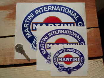 "Martini International Club. Belted Logo Stickers. 2.75"", 4"", 6"" or 8"" Pair."
