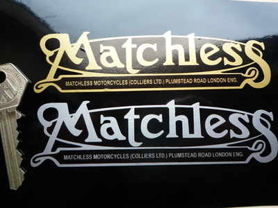 """Matchless Mudguard Script Stickers. 5"""" or 8"""" Pair."""