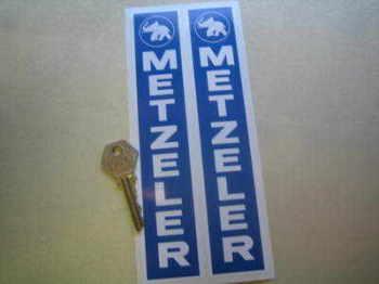 """Metzeler Bike Tyres Blue & White Fork Slider Stickers. 7.75"""" Pair."""