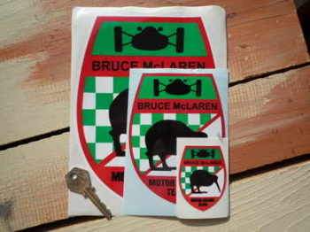 "Bruce McLaren Motor Racing Team Shield Stickers. 2.5"", 5"" or 8"" Pair."