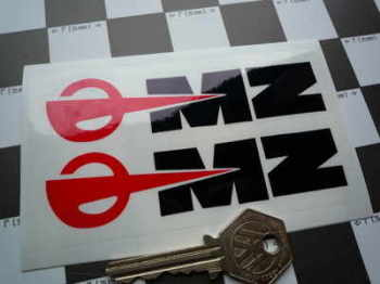 "MZ East German Motorcycle Black, Red, & Clear Stickers. 4.5"" Pair."
