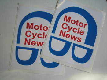 "Motor Cycle News Stickers. 3.5"" Pair."