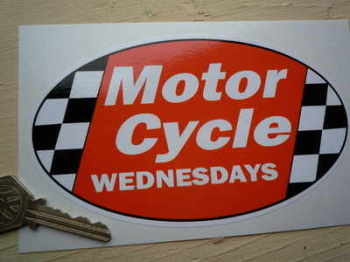 "Motor Cycle Wednesdays Stickers. 6"" Pair."
